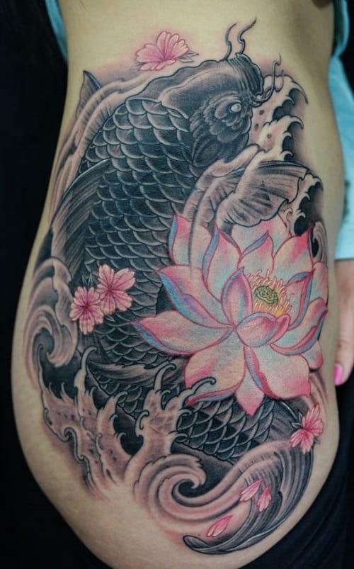Rib To Thigh Koi Tattoo With Lotis
