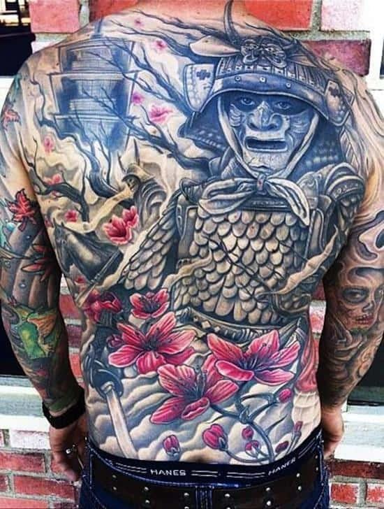 samurai tattoo and flowers full back