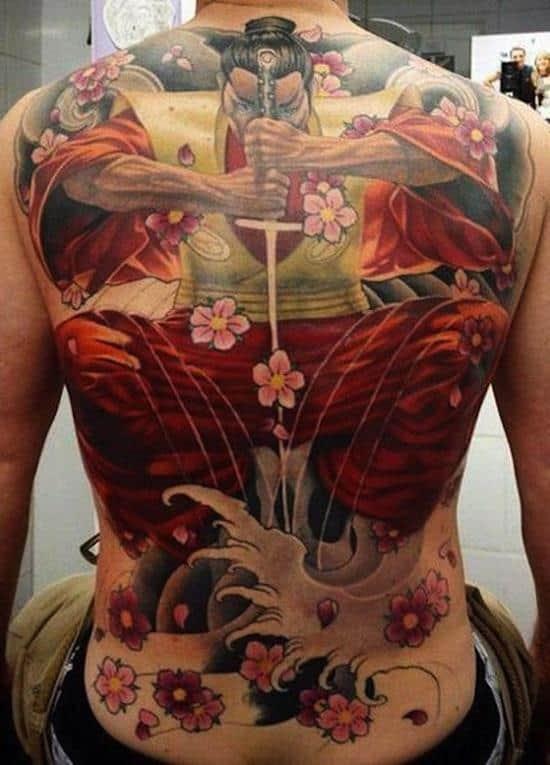 samurai-tattoo-with-flowers