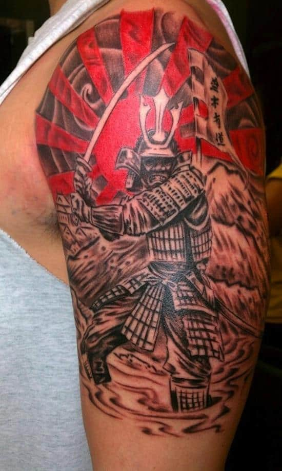 samurai-tattoo-withflag