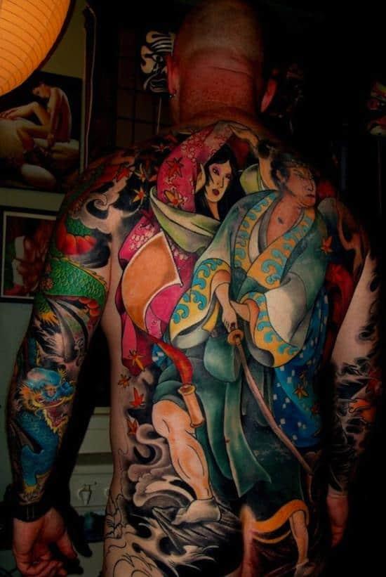 samurai tattoos colorful kimono