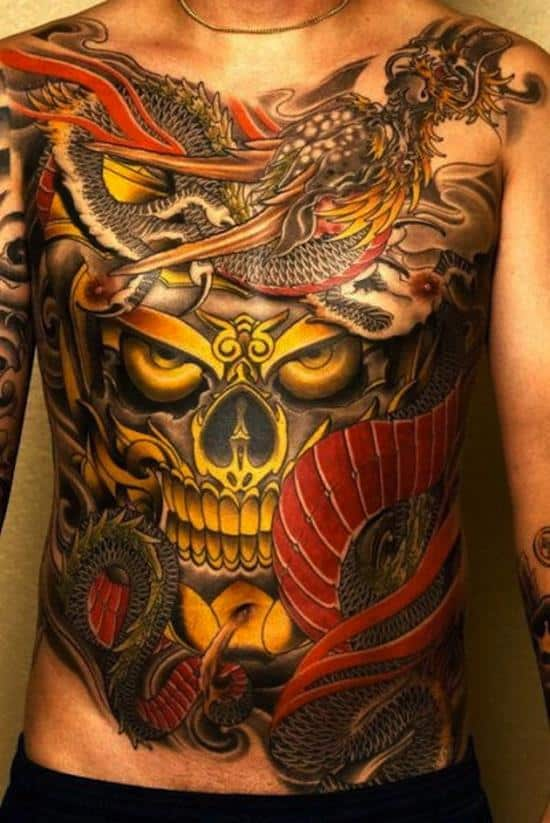 stomach-tattoo-colorful-skull