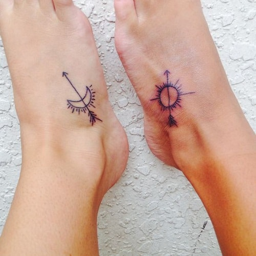Sun and Moon with Arrows Best Friend Tattoos