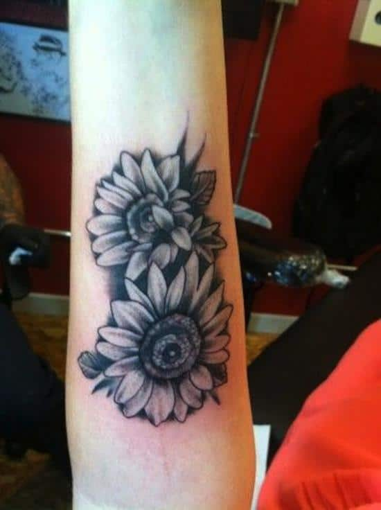 sunflower-tattoo-black-and-grey