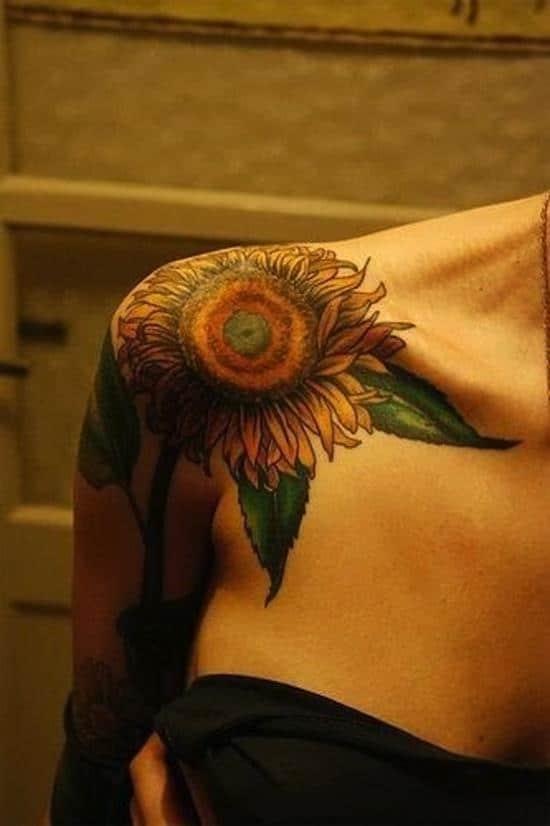 sunflower-tattoo-shoulder