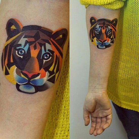 round tiger face tattoo