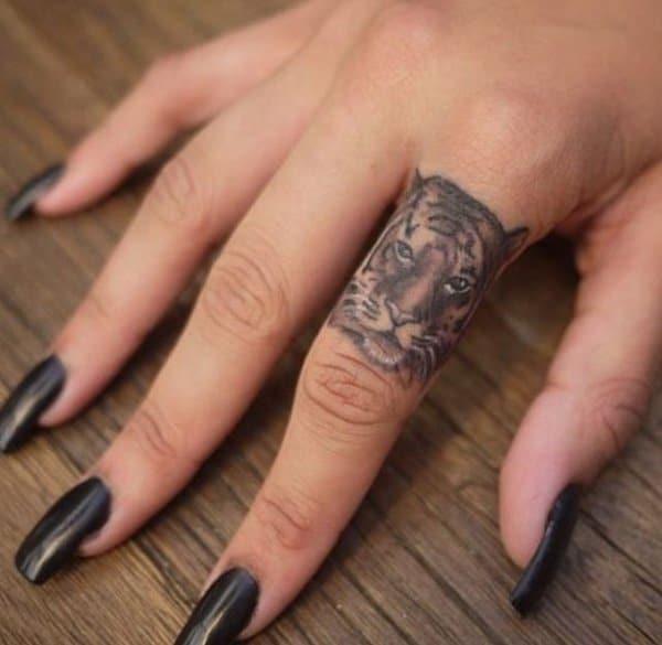 Tiger Finger Tattoo