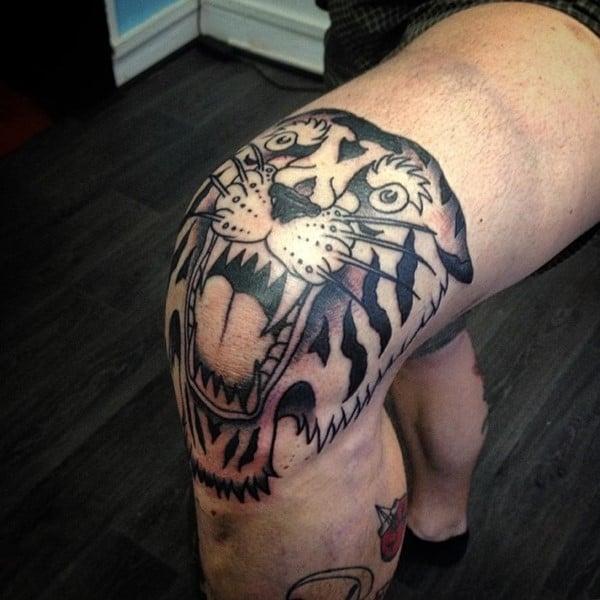 tiger knee tattoo
