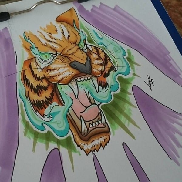 tiger art for hand tattoo