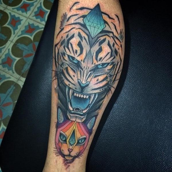 tiger and diamond tattoo