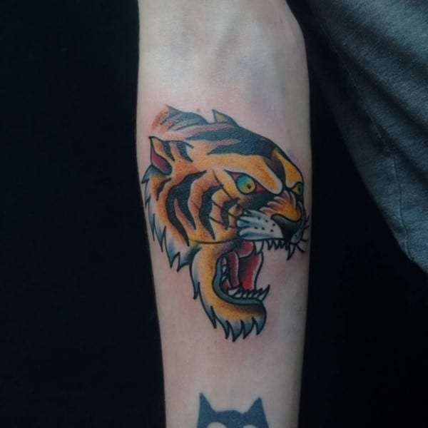 tiger tattoo on forearm