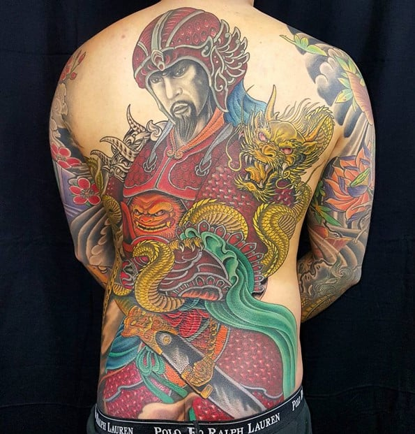 japanese warrior tattoo on back