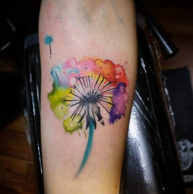 Watercolor Dandelion Tattoo by Patrick Squires