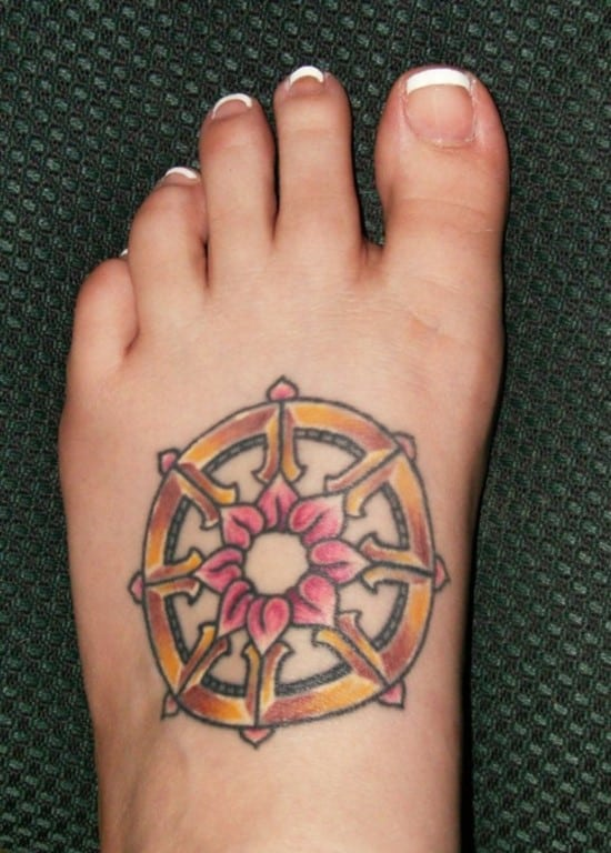 wheel-buddhist-tattoos-on-foot