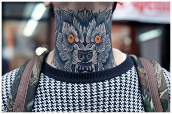 wolf tattoo on neck