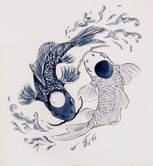 Yin and Yang Koi Tattoos