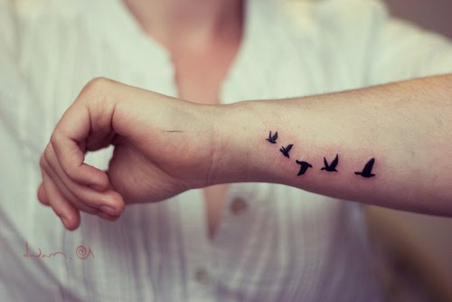 Five Little Black Flying Birds Tattoo