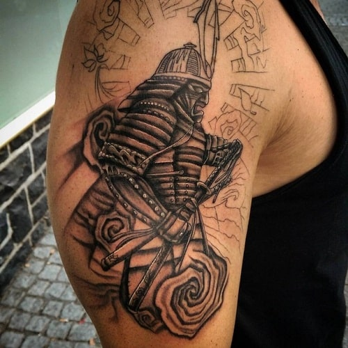 Grey Ink Samurai Tattoo on Right Shoulder