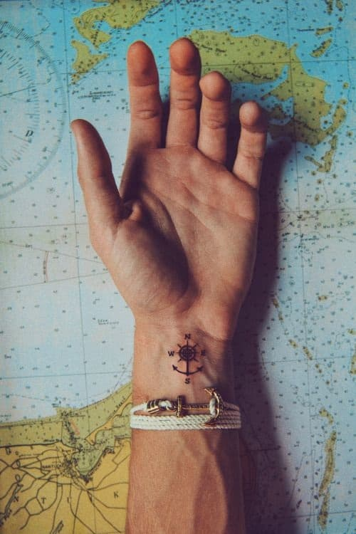 Anchor at the Bottom of Compass Tattoo