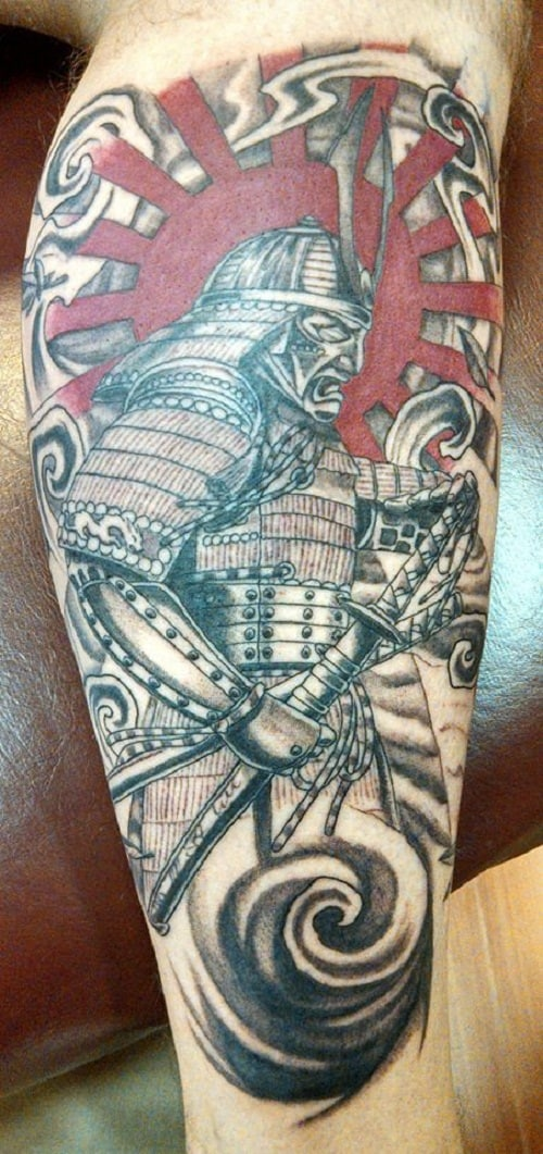 Angry Samurai Tattoo with Red Sun