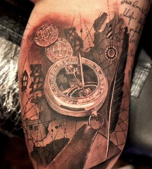 Arm Compass Tattoo with Map and Cursive Writing
