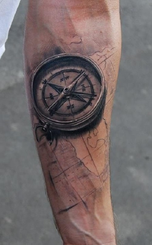 Arm Compass Tattoo with Map