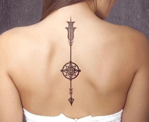 Arrow and Sun Compass Tattoos