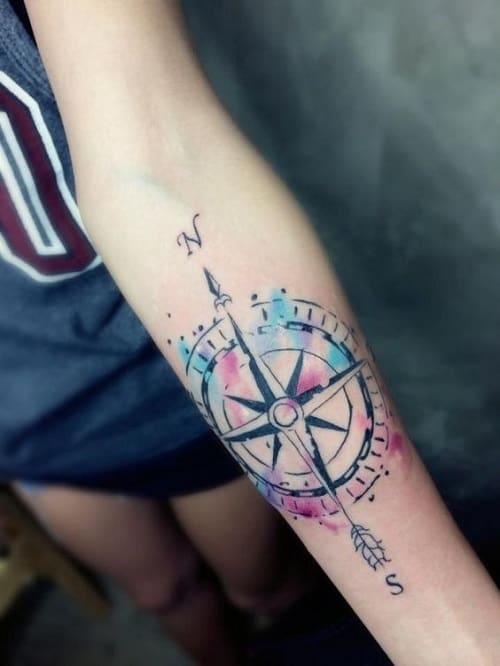 Arrow Pointing North Compass Tattoo