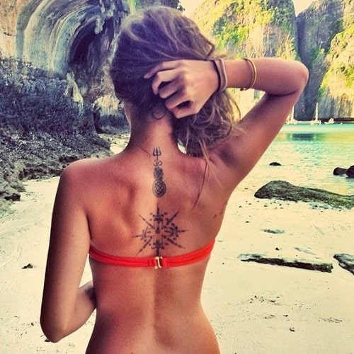 Back Compass Tattoo with Cross for Women