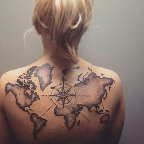 160 best compass tattoos and meanings june 2018 part 10 back compass tattoo with world map gumiabroncs Image collections
