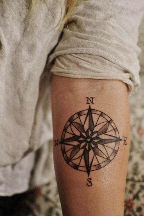 Beautiful Solid Black Compass Tattoo on Arm