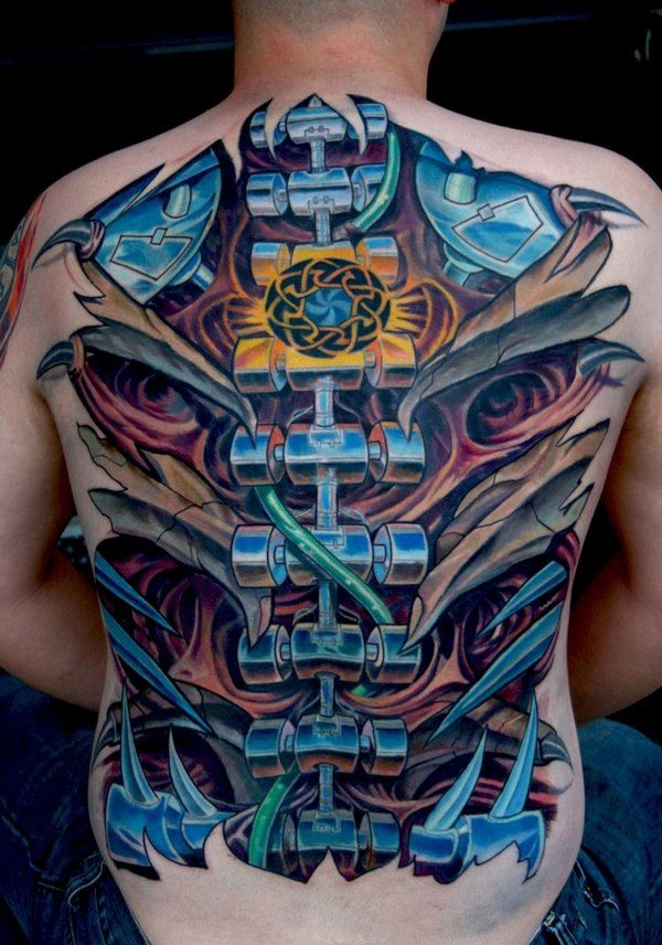 42fabb27c Biomechanical tattoos can also take the form of images of mechanical  devices, tattooed to look as if they're attached to the body.