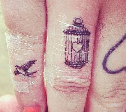 Caged Heart with Bird Tattoo