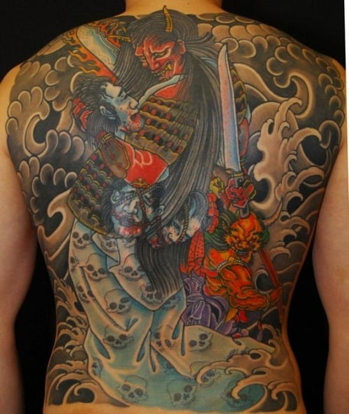 Colorful Battle of Japanese Samurai Tattoo