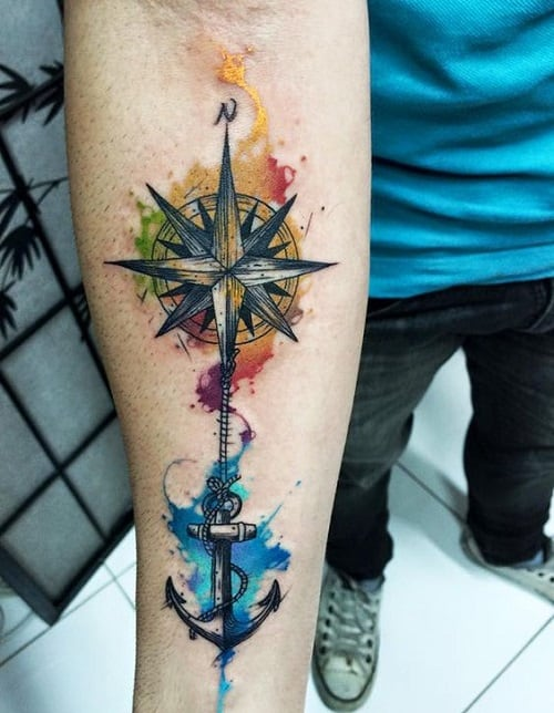 Colorful Compass Tattoo with Anchor on Arm