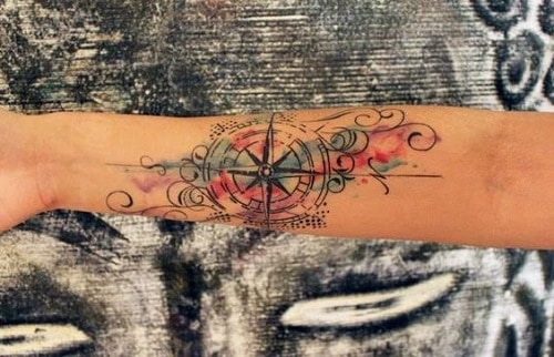 Colorful Compass Tattoo with Swirls