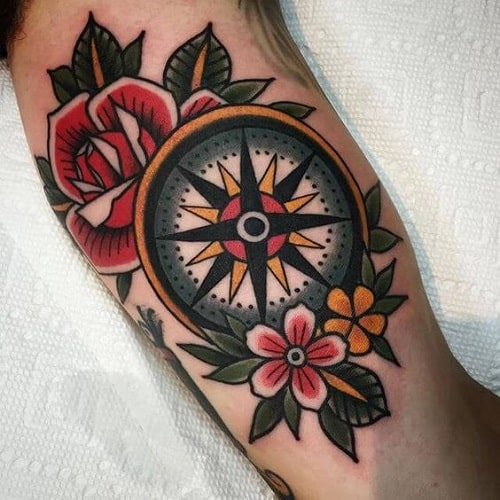 Colorful Solid Compass Tattoo with Dahlias and Roses