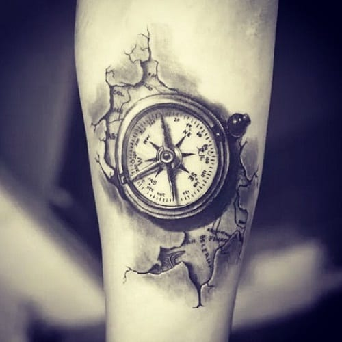 Compass Black Ink Tattoo