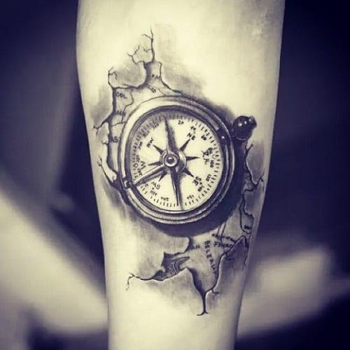 Compass Black Ink Tattoo