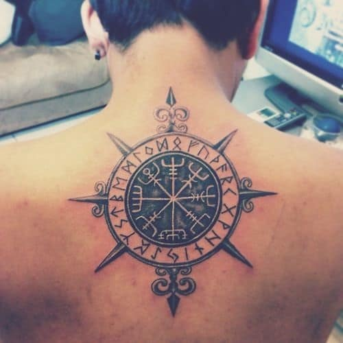 Compass Tattoo on Back with Tribal Writings