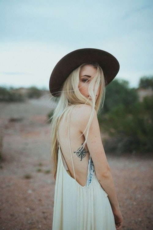 Compass Tattoo on Side for Women