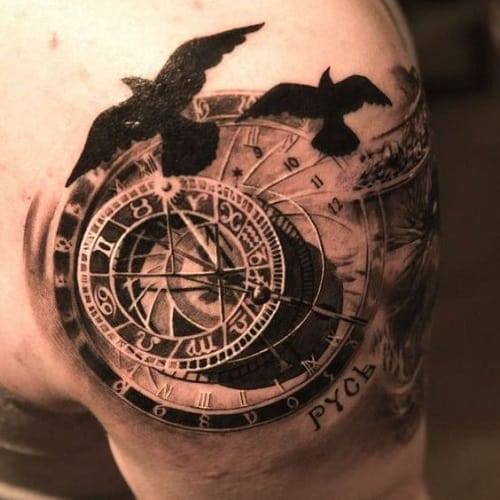 Compass Tattoo with Birds