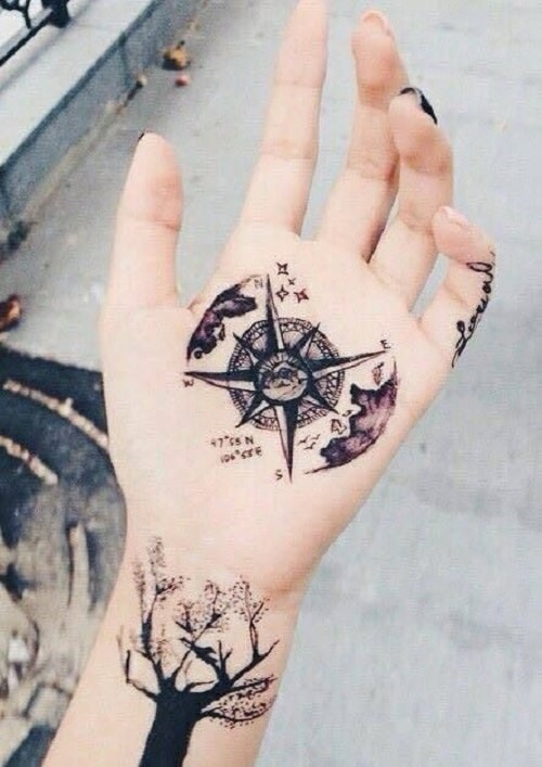 Compass Tattoo with Clouds and Stars