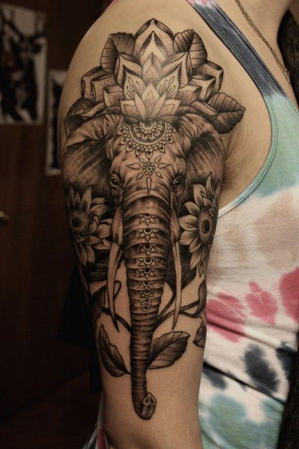 Angry Elephant Tattoo On Back