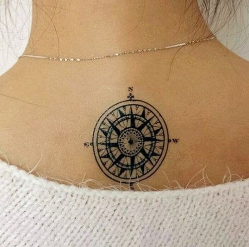 Cute Small Compass Tattoo on Upper Back