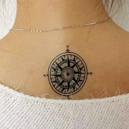 Cute Small Compass Tattoo on Upper Back