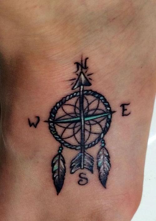 Dreamcatcher Compass Tattoo