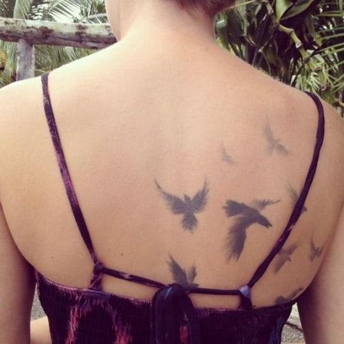 Fading Bird Tattoos on Back