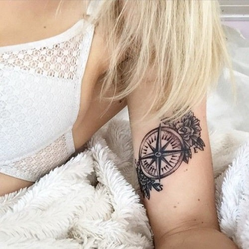 Flowers and Compass Tattoos for Women