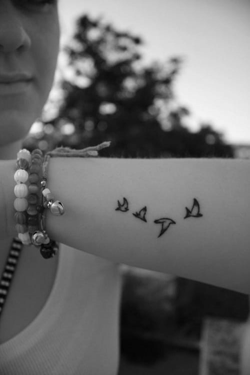 Fly Bird Tattoos on Arm
